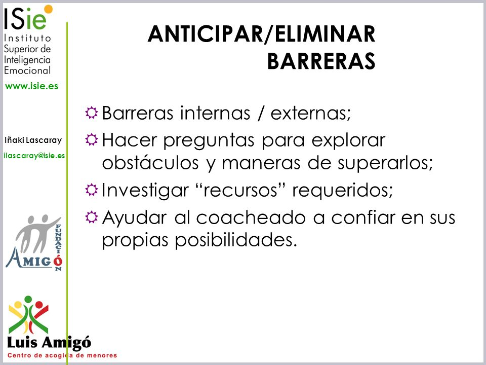 ANTICIPAR/ELIMINAR BARRERAS
