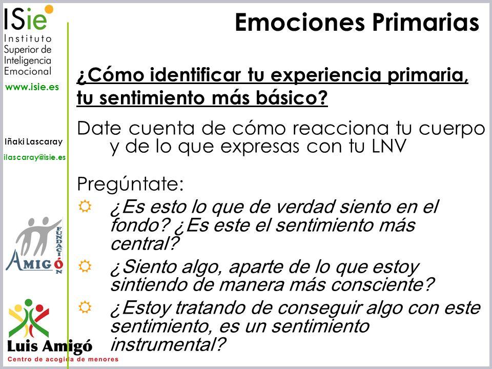 Emociones Primarias ¿Cómo identificar tu experiencia primaria,