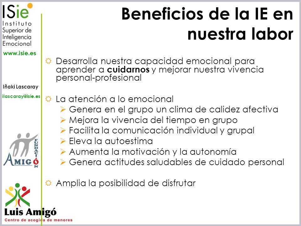 Beneficios de la IE en nuestra labor