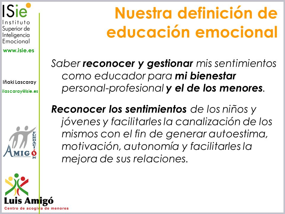Nuestra definición de educación emocional