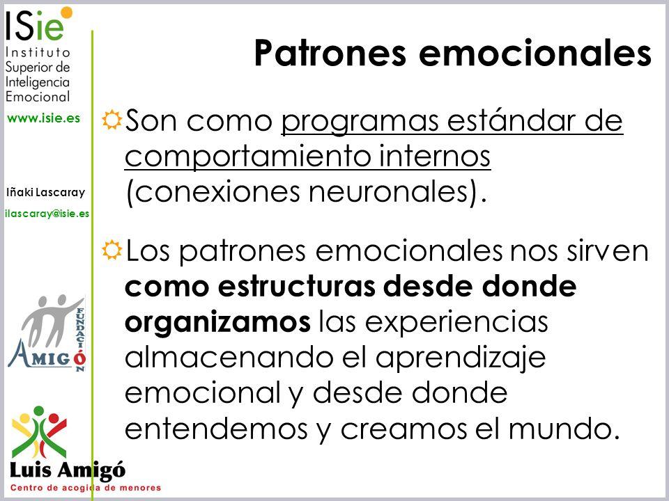 Patrones emocionales Son como programas estándar de comportamiento internos (conexiones neuronales).