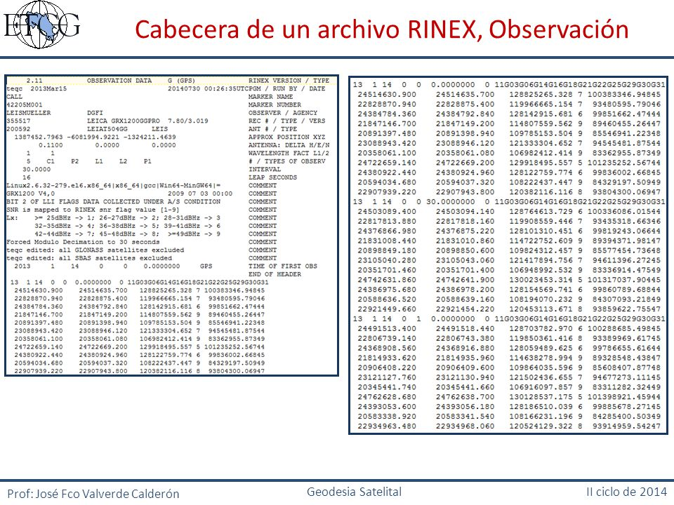 Cabecera de un archivo RINEX, Observación