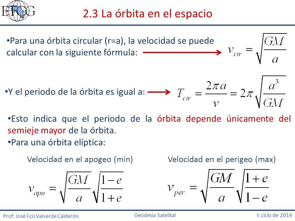 2.3 La órbita en el espacio Para una órbita circular (r=a), la velocidad se puede calcular con la siguiente fórmula: