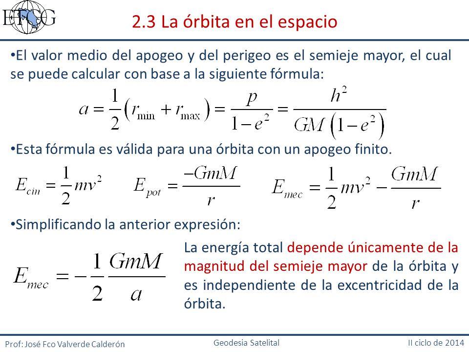 2.3 La órbita en el espacio El valor medio del apogeo y del perigeo es el semieje mayor, el cual se puede calcular con base a la siguiente fórmula: