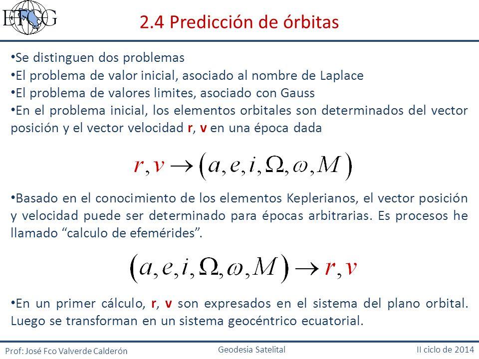 2.4 Predicción de órbitas Se distinguen dos problemas
