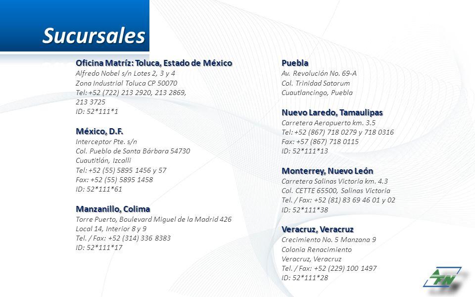 Sucursales Oficina Matríz: Toluca, Estado de México Puebla