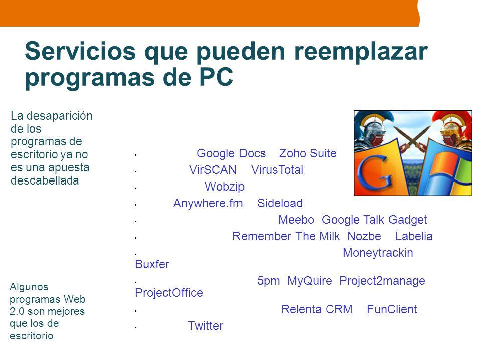 Servicios que pueden reemplazar programas de PC