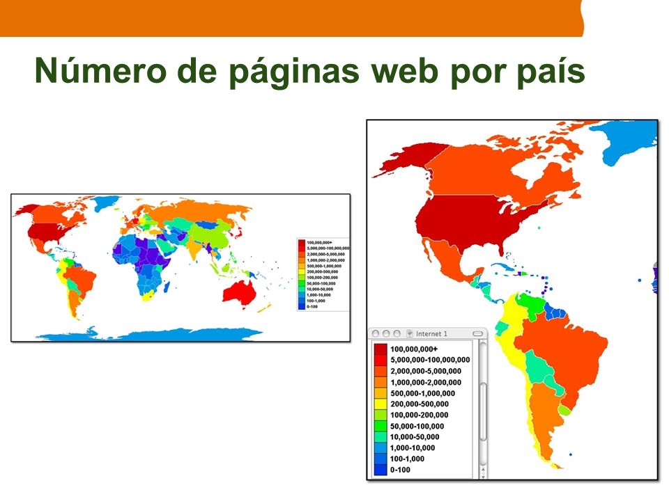 Número de páginas web por país
