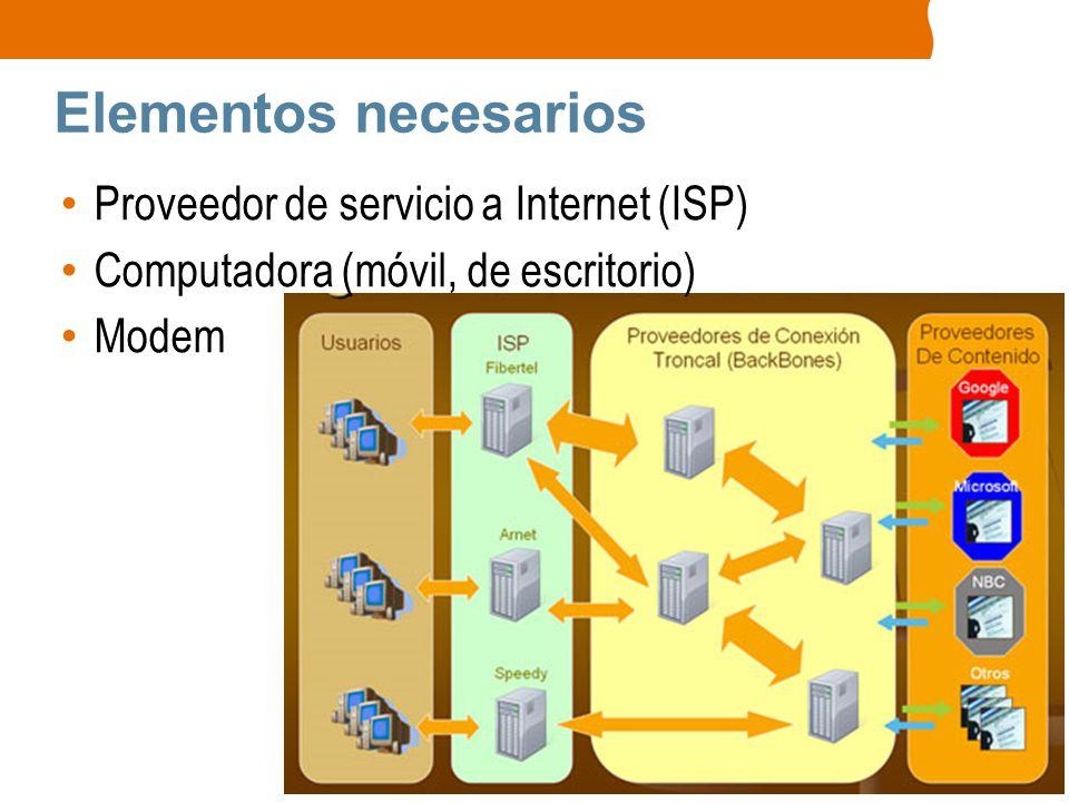 Elementos necesarios Proveedor de servicio a Internet (ISP)
