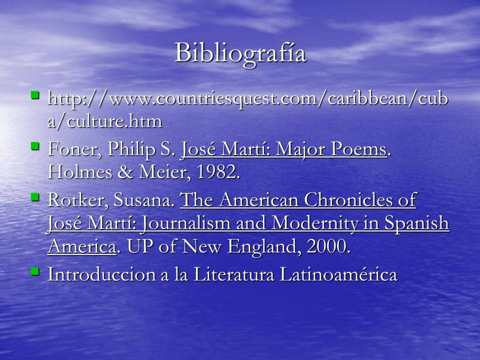 Bibliografía http://www.countriesquest.com/caribbean/cuba/culture.htm