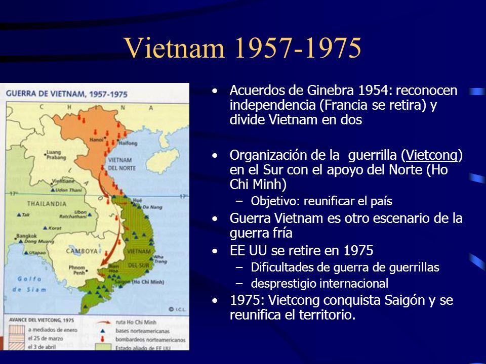 Vietnam 1957-1975 Acuerdos de Ginebra 1954: reconocen independencia (Francia se retira) y divide Vietnam en dos.
