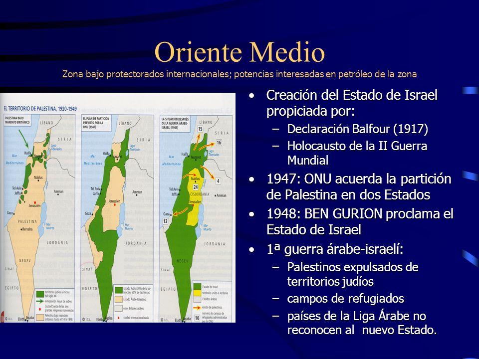 Oriente Medio Zona bajo protectorados internacionales; potencias interesadas en petróleo de la zona