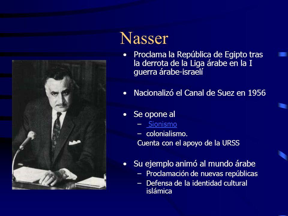 Nasser Proclama la República de Egipto tras la derrota de la Liga árabe en la I guerra árabe-israelí.