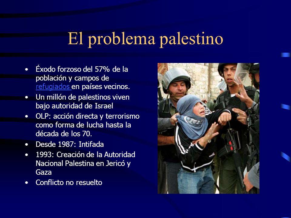 El problema palestino Éxodo forzoso del 57% de la población y campos de refugiados en países vecinos.