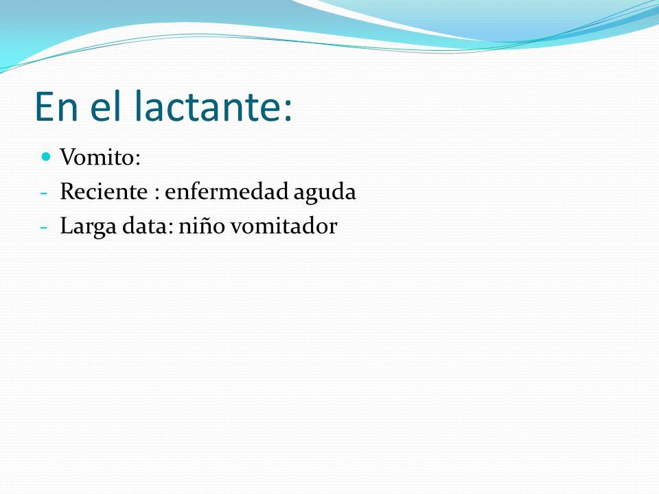 En el lactante: Vomito: Reciente : enfermedad aguda