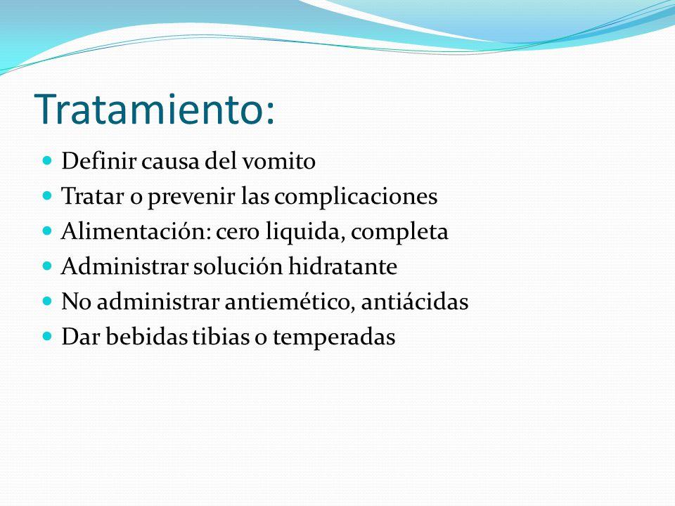 Tratamiento: Definir causa del vomito