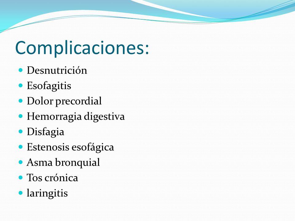 Complicaciones: Desnutrición Esofagitis Dolor precordial