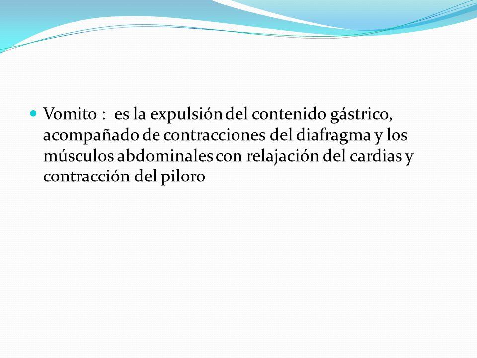 Vomito : es la expulsión del contenido gástrico, acompañado de contracciones del diafragma y los músculos abdominales con relajación del cardias y contracción del piloro