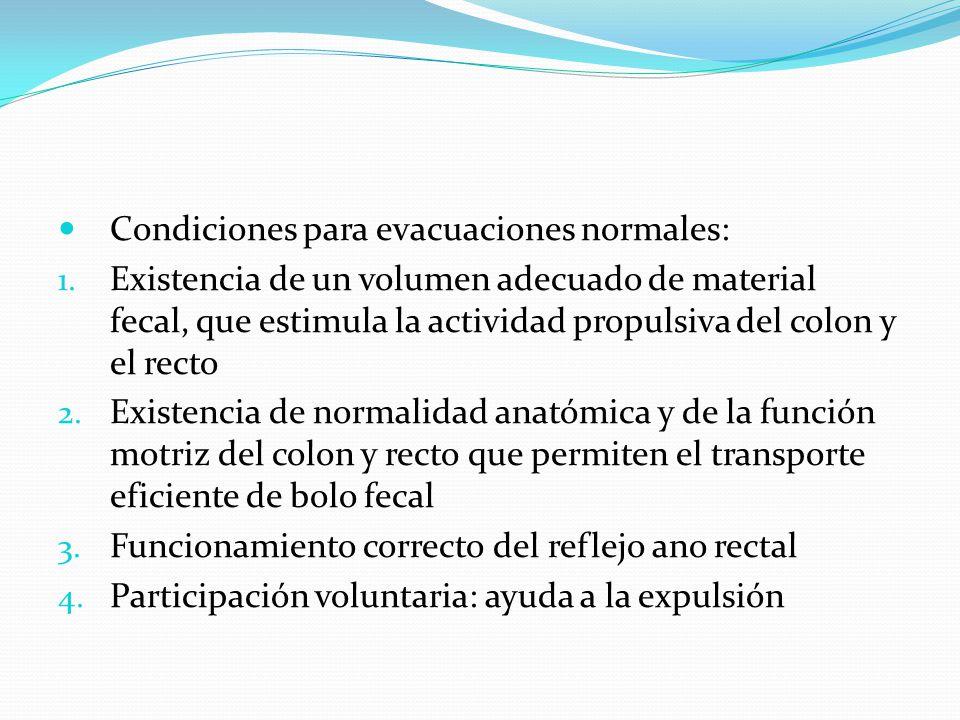 Condiciones para evacuaciones normales: