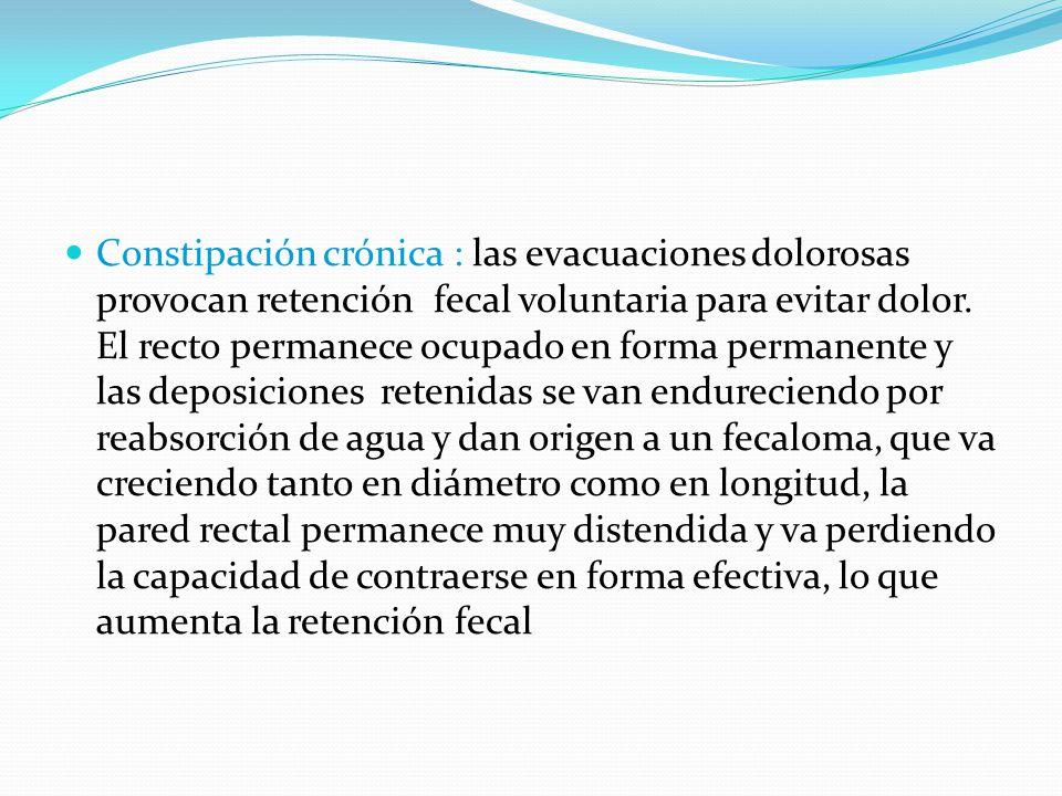 Constipación crónica : las evacuaciones dolorosas provocan retención fecal voluntaria para evitar dolor.