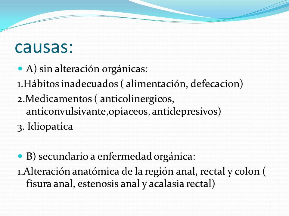 causas: A) sin alteración orgánicas: