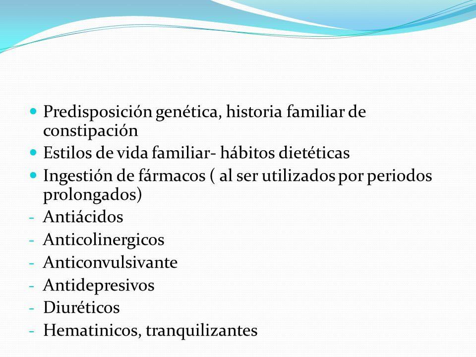 Predisposición genética, historia familiar de constipación