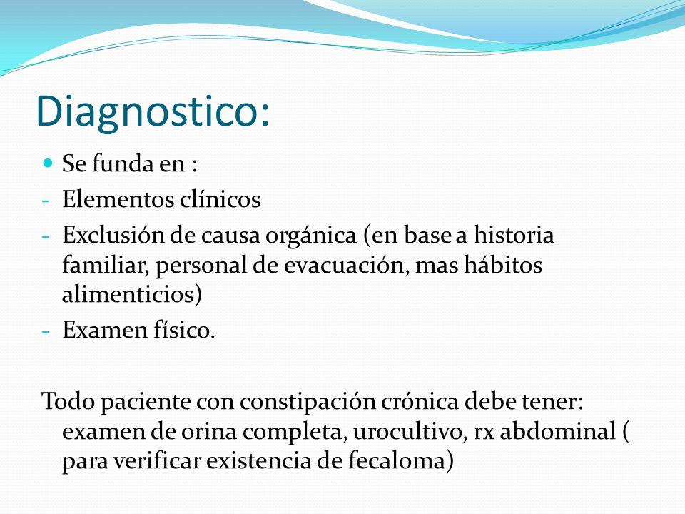 Diagnostico: Se funda en : Elementos clínicos