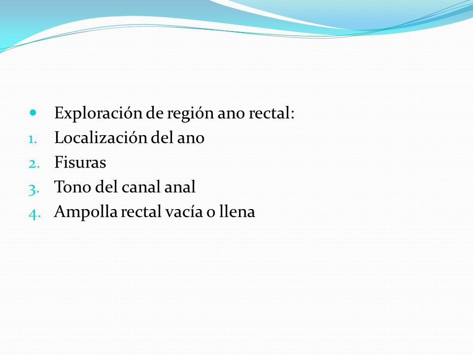 Exploración de región ano rectal: