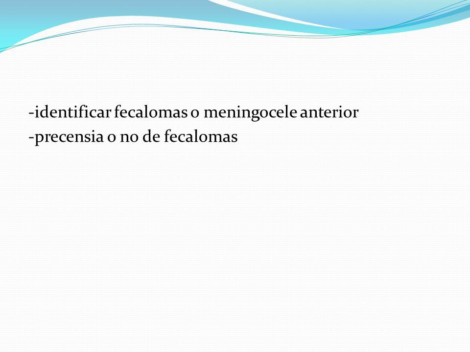 -identificar fecalomas o meningocele anterior