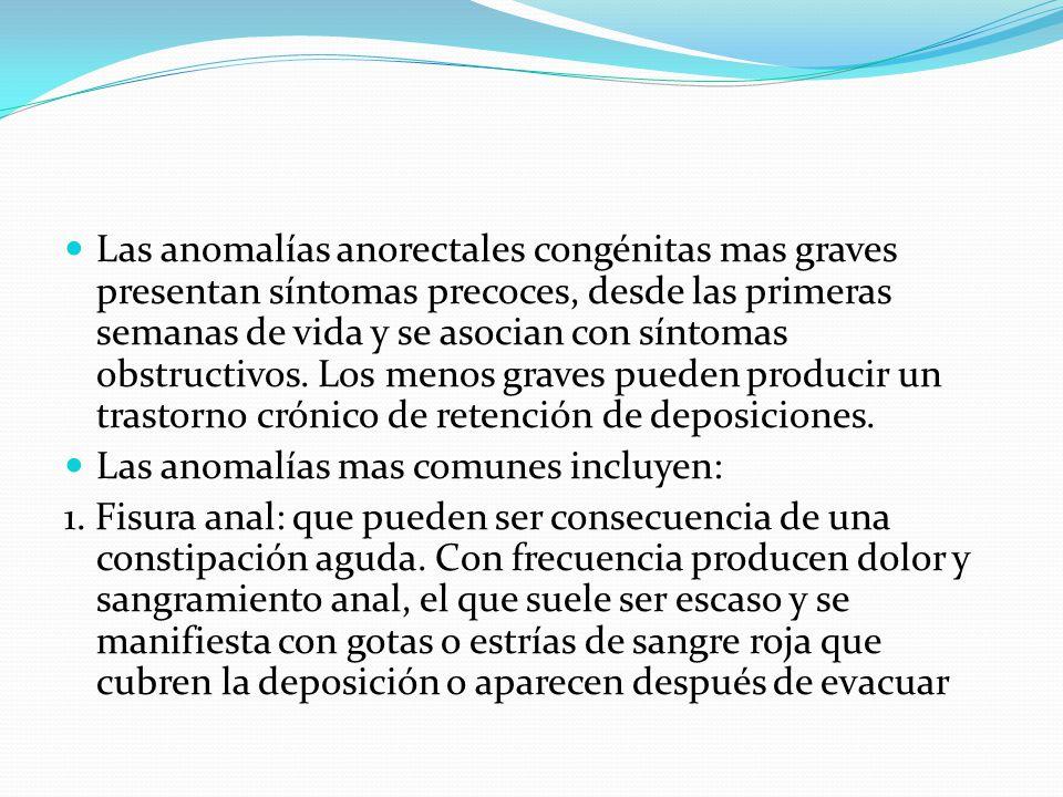 Las anomalías anorectales congénitas mas graves presentan síntomas precoces, desde las primeras semanas de vida y se asocian con síntomas obstructivos. Los menos graves pueden producir un trastorno crónico de retención de deposiciones.