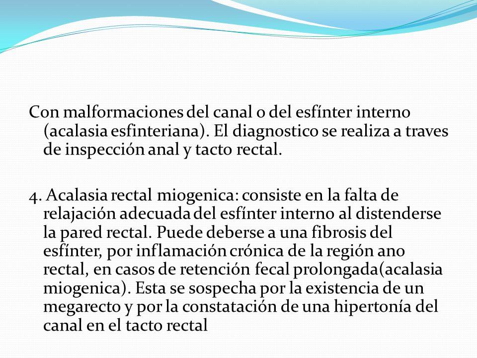 Con malformaciones del canal o del esfínter interno (acalasia esfinteriana). El diagnostico se realiza a traves de inspección anal y tacto rectal.