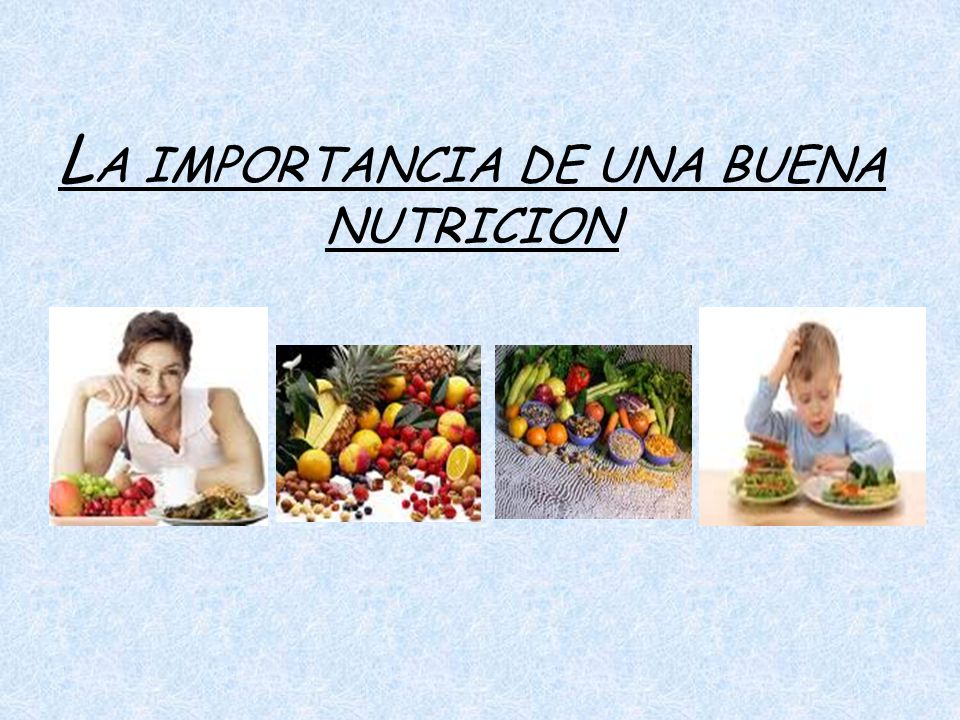 LA IMPORTANCIA DE UNA BUENA NUTRICION