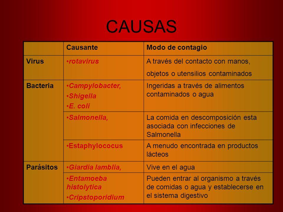 CAUSAS Causante Modo de contagio Virus rotavirus