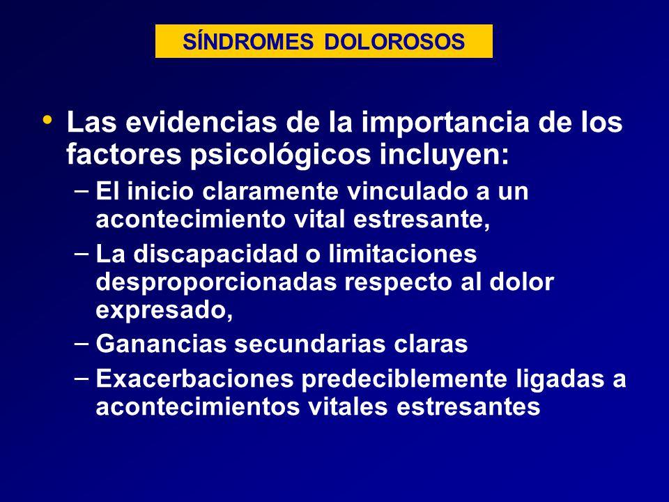 SÍNDROMES DOLOROSOS Las evidencias de la importancia de los factores psicológicos incluyen: