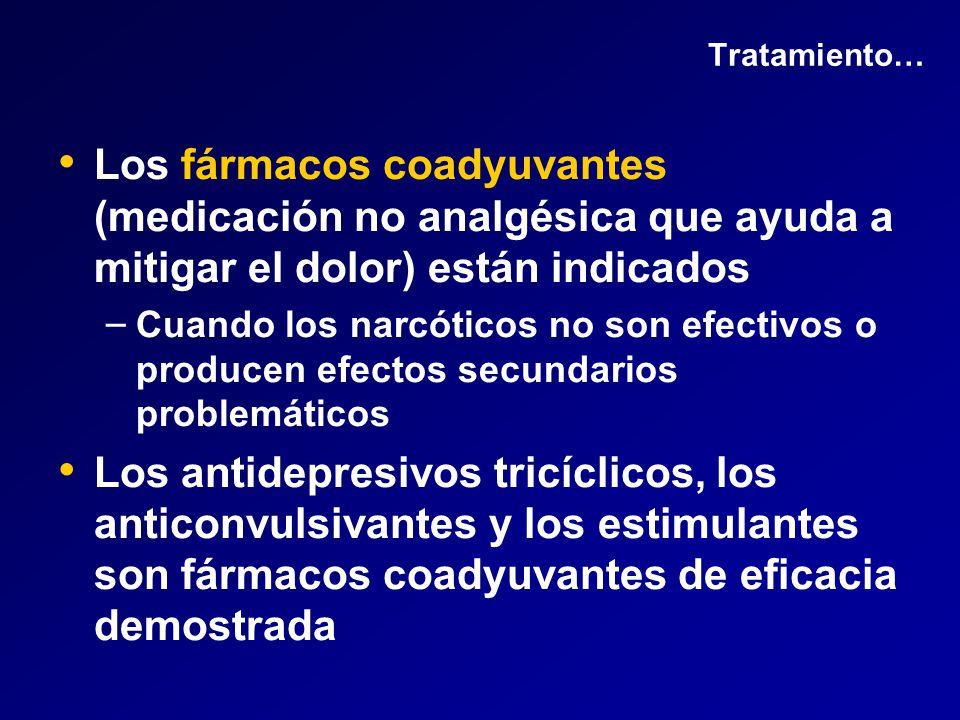 Tratamiento… Los fármacos coadyuvantes (medicación no analgésica que ayuda a mitigar el dolor) están indicados.