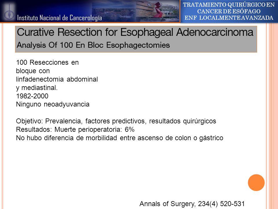 100 Resecciones en bloque con linfadenectomia abdominal y mediastinal.