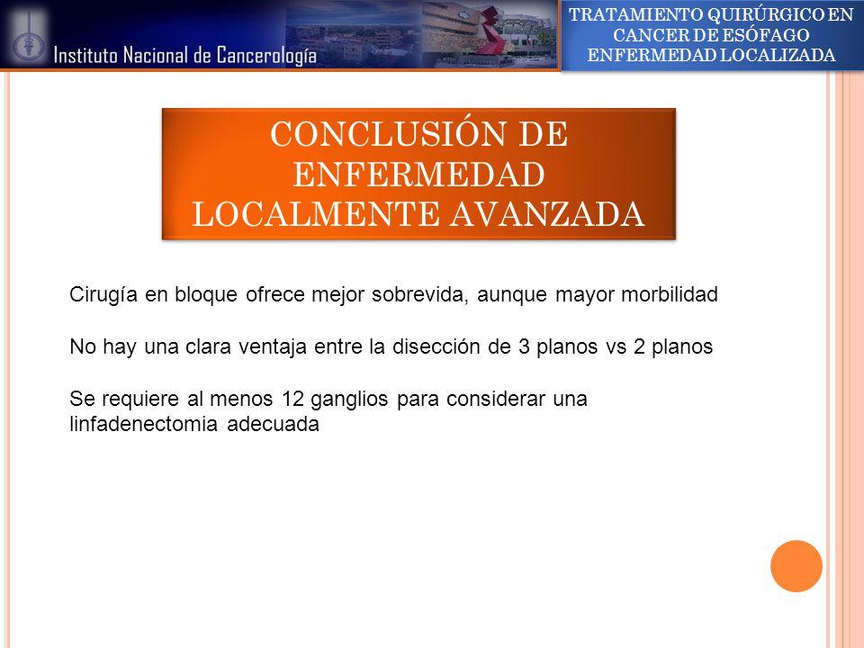 CONCLUSIÓN DE ENFERMEDAD LOCALMENTE AVANZADA
