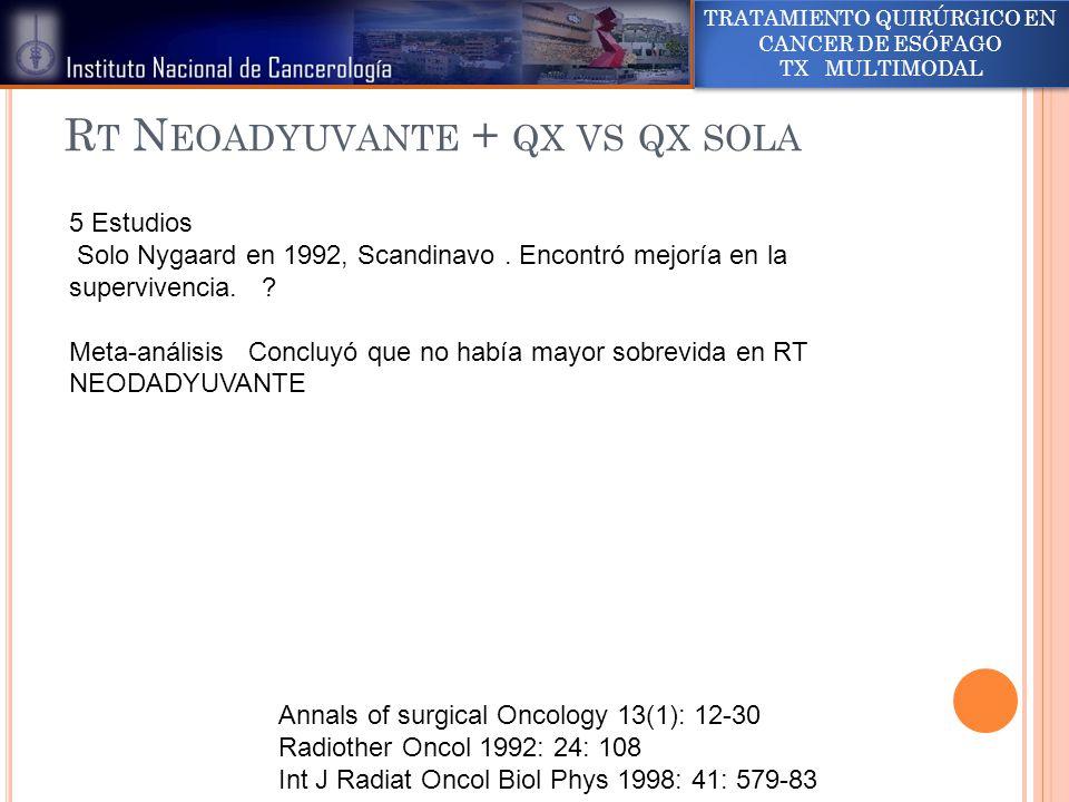 Rt Neoadyuvante + qx vs qx sola