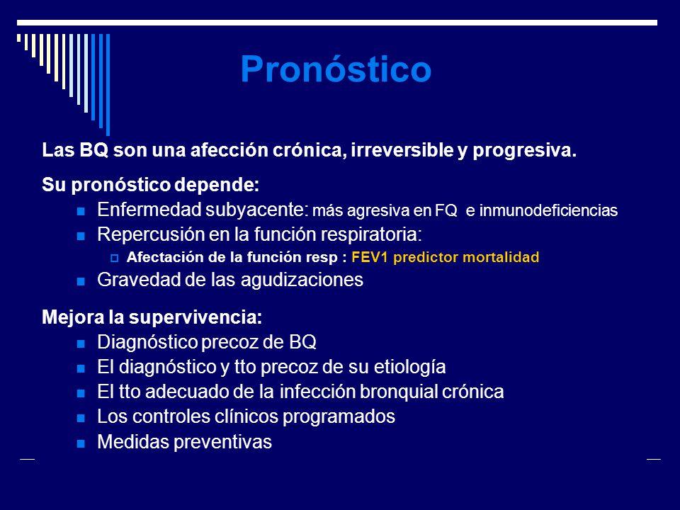 Pronóstico Las BQ son una afección crónica, irreversible y progresiva.