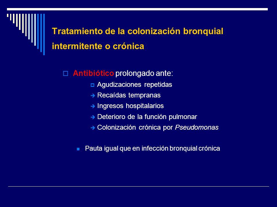 Tratamiento de la colonización bronquial intermitente o crónica