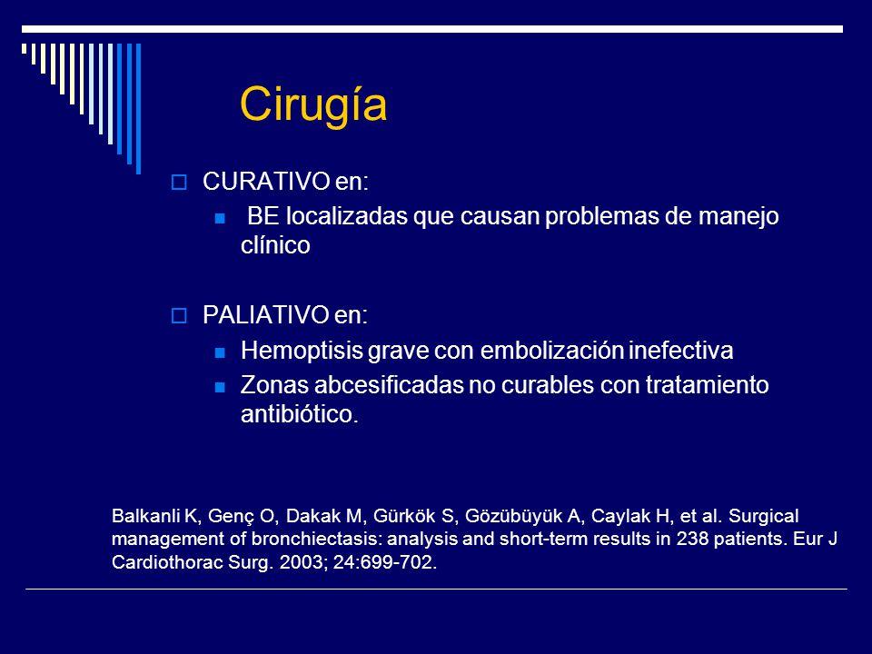 Cirugía CURATIVO en: BE localizadas que causan problemas de manejo clínico. PALIATIVO en: Hemoptisis grave con embolización inefectiva.