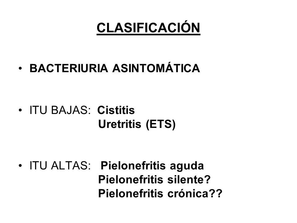 CLASIFICACIÓN BACTERIURIA ASINTOMÁTICA ITU BAJAS: Cistitis