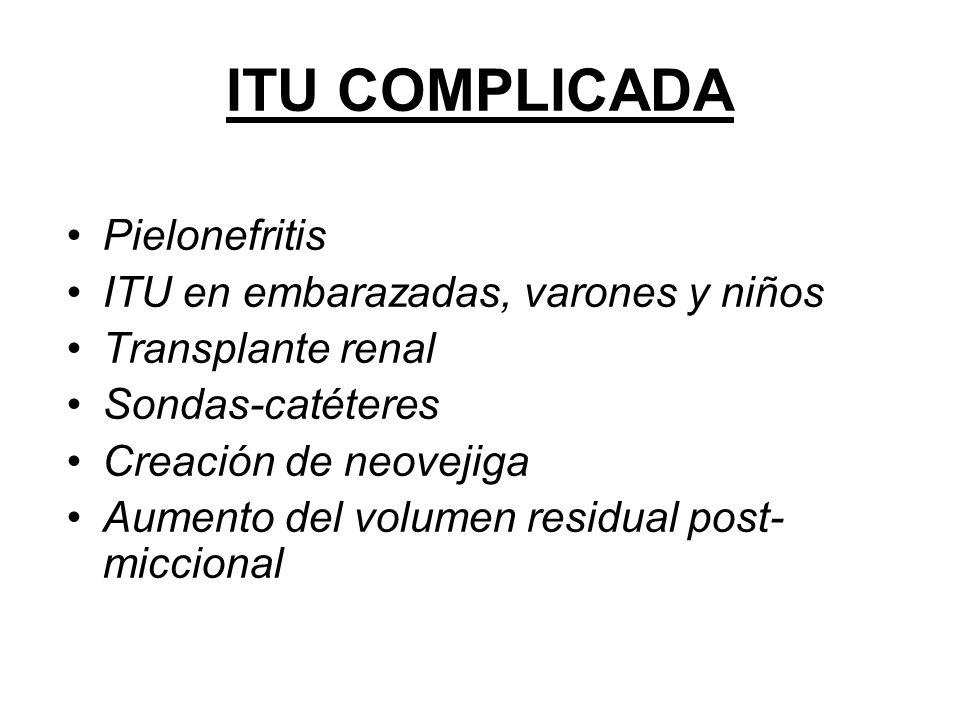 ITU COMPLICADA Pielonefritis ITU en embarazadas, varones y niños