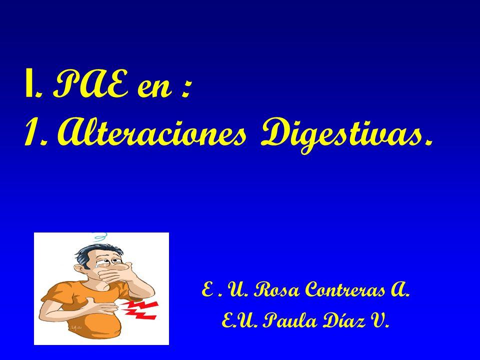 I. PAE en : 1. Alteraciones Digestivas.