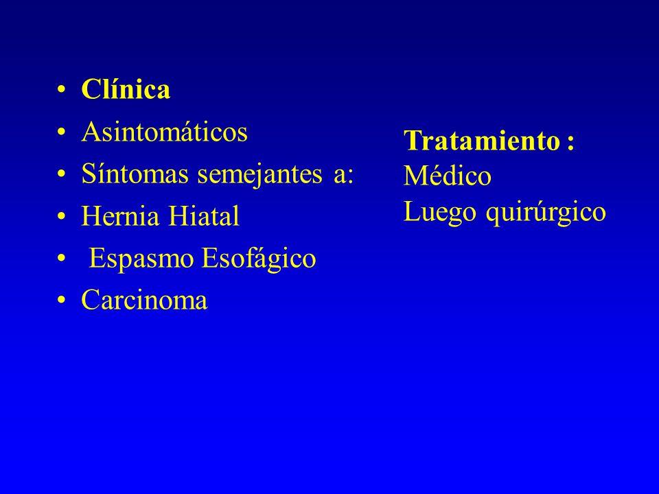 Clínica Asintomáticos. Síntomas semejantes a: Hernia Hiatal. Espasmo Esofágico. Carcinoma. Tratamiento :