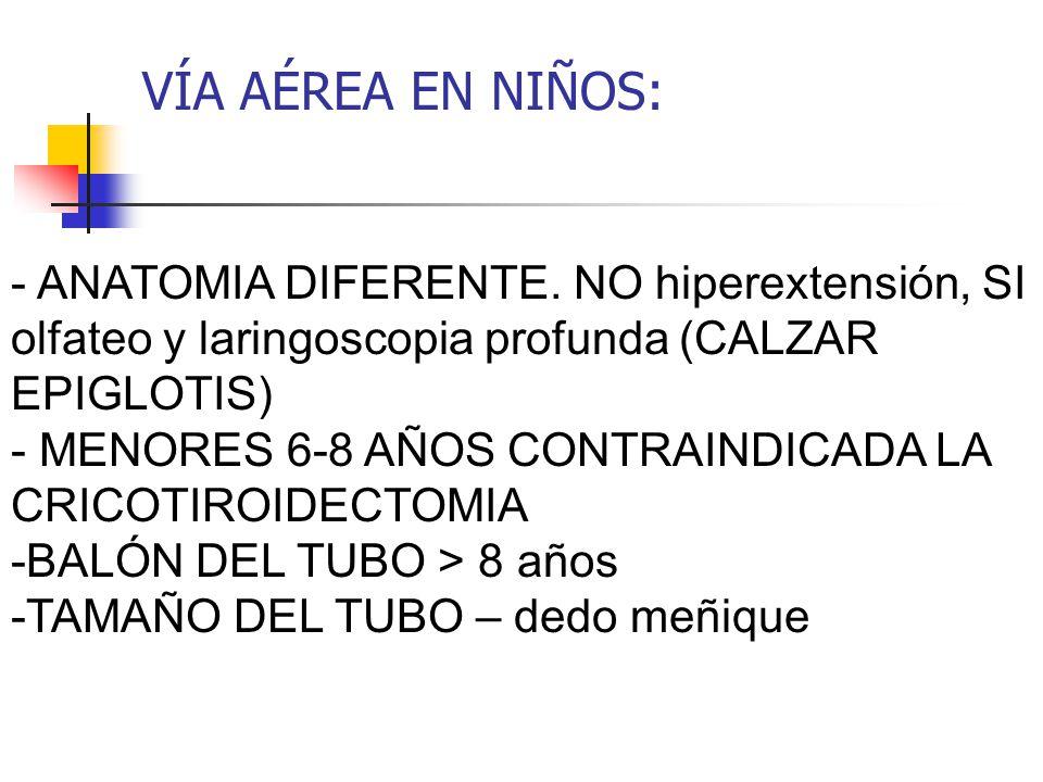 VÍA AÉREA EN NIÑOS: - ANATOMIA DIFERENTE. NO hiperextensión, SI olfateo y laringoscopia profunda (CALZAR EPIGLOTIS)