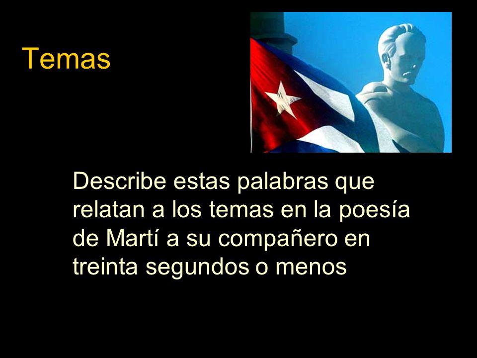 Temas Describe estas palabras que relatan a los temas en la poesía de Martí a su compañero en treinta segundos o menos.