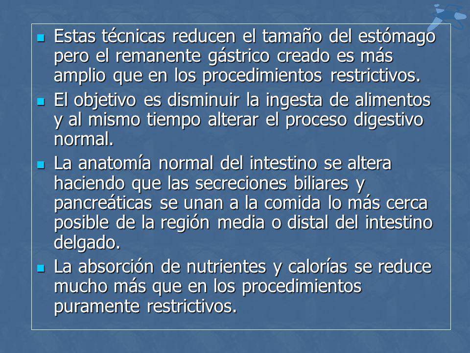 Estas técnicas reducen el tamaño del estómago pero el remanente gástrico creado es más amplio que en los procedimientos restrictivos.
