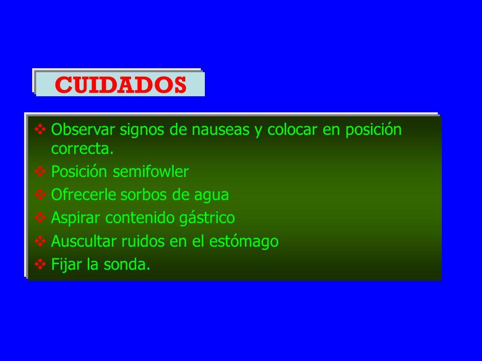 CUIDADOS Observar signos de nauseas y colocar en posición correcta.