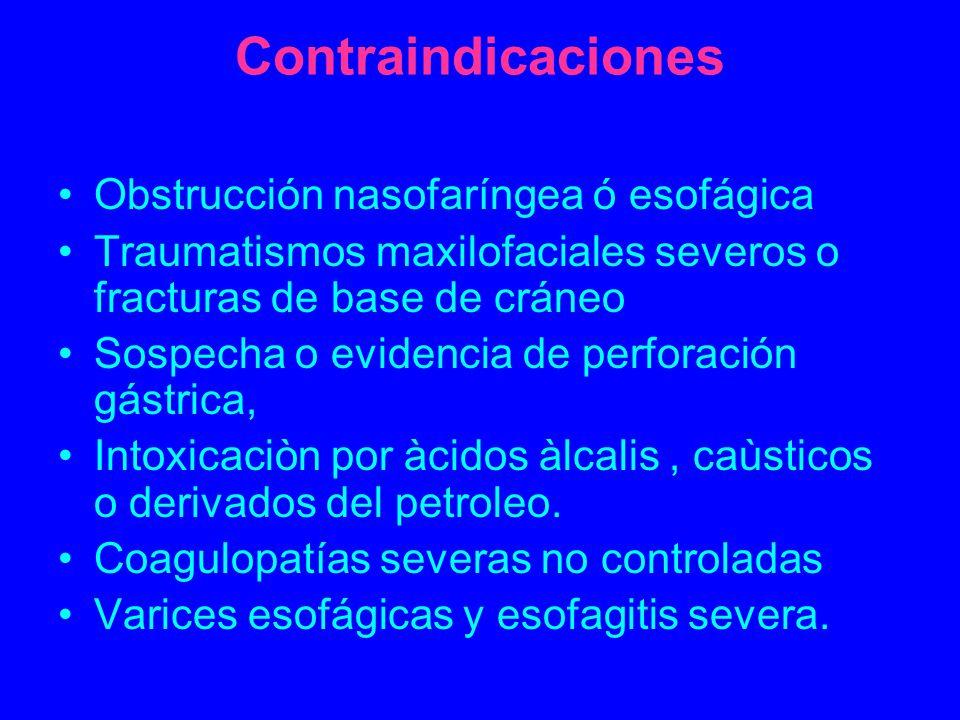 Contraindicaciones Obstrucción nasofaríngea ó esofágica